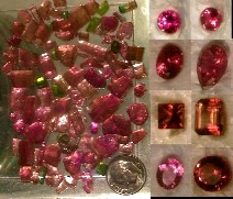 tourmaline rough gem crystals