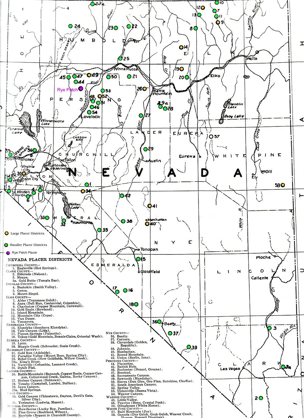 Nevada Mining Map Northern Nevada Placer Gold Districts and Prospecting areas