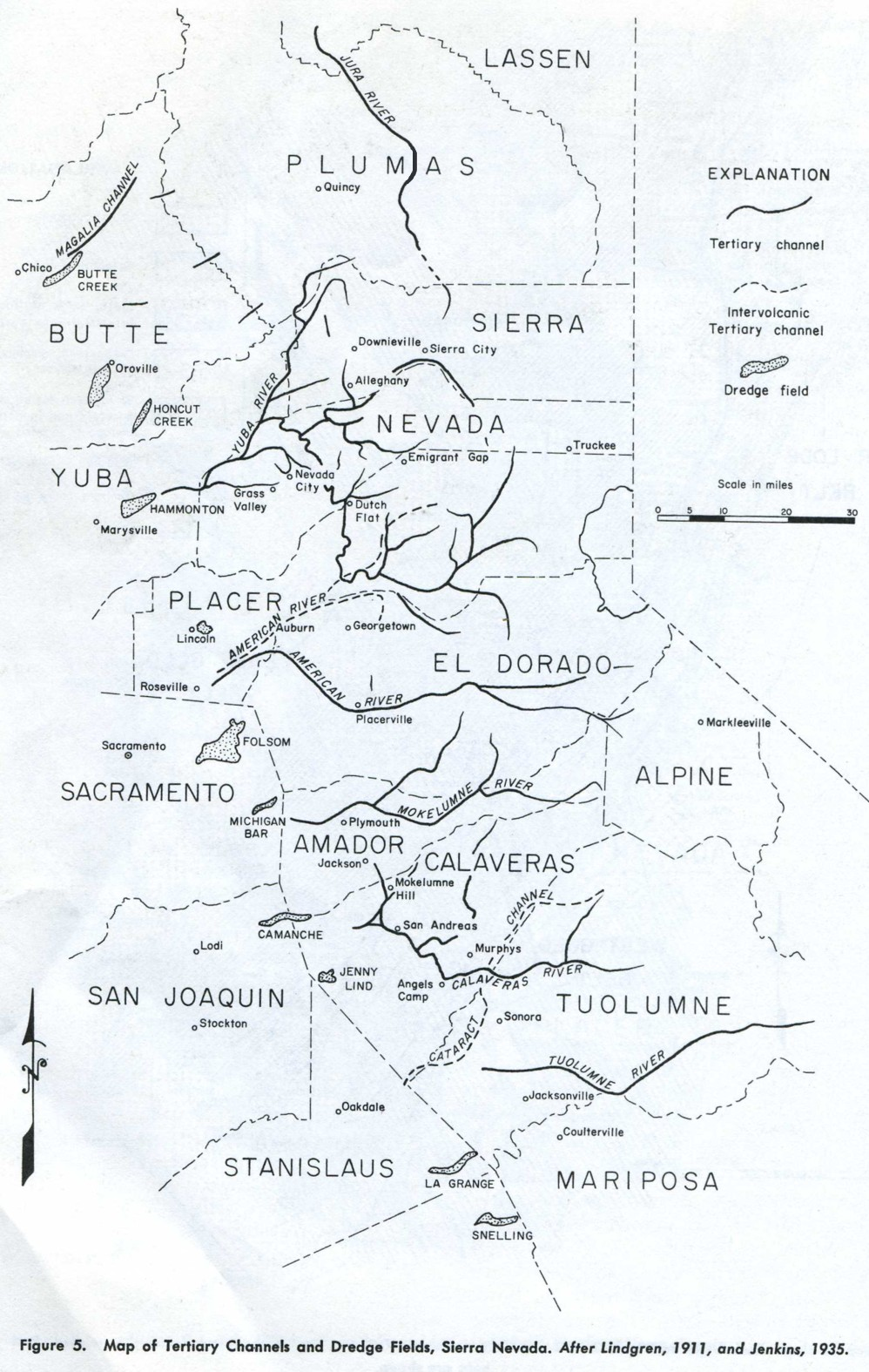 Northern California Mother Lode Gold Placer Districts - California river map